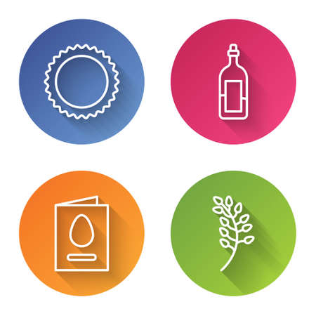 Set line Sun, Bottle of wine, Greeting card with Happy Easter and Willow leaf. Color circle button. Vector Ilustracja