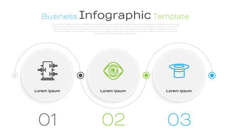 Set line Trunk for magic tricks, Hypnosis and Magician hat. Business infographic template. Vector