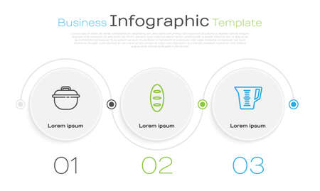 Set line Cooking pot, Bread loaf and Measuring cup. Business infographic template. Vector