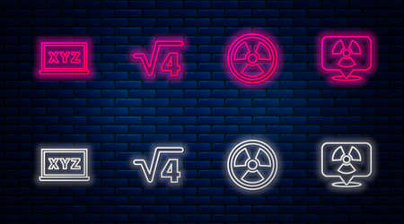 Set line Square root of 4 glyph, Radioactive, XYZ Coordinate system and location. Glowing neon icon on brick wall. Vector Çizim