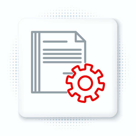 Line Document settings with gears icon isolated on white background. Software update, transfer protocol, teamwork tool management. Colorful outline concept. Vector