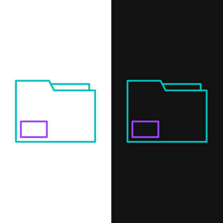 Line Document folder icon isolated on white and black background. Accounting binder symbol. Bookkeeping management. Colorful outline concept. Vector