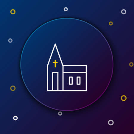 Line Church building icon isolated on blue background. Christian Church. Religion of church. Colorful outline concept. Vector