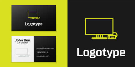 Logotype line Smart Tv icon isolated on black background. Television sign. Logo design template element. Vector Illustration