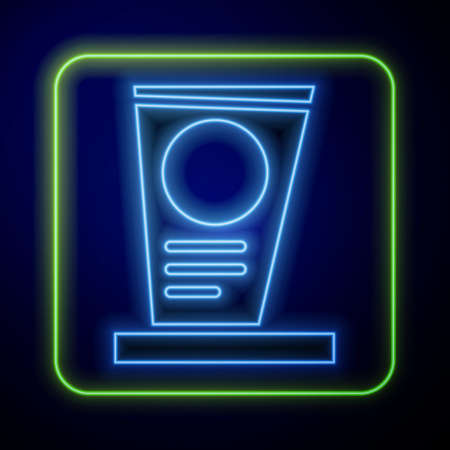 Glowing neon Grave with tombstone icon isolated on blue background. Vector