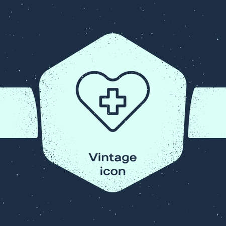 Grunge line Heart with a cross icon isolated on blue background. First aid. Healthcare, medical and pharmacy sign. Monochrome vintage drawing. Vector Illustration
