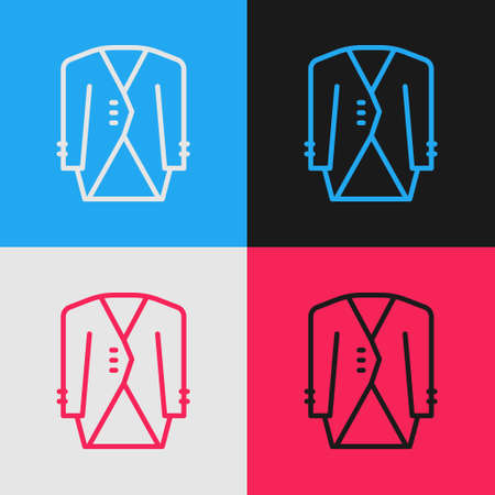 Pop art line Suit icon isolated on color background. Tuxedo. Wedding suits with necktie. Vector 矢量图像
