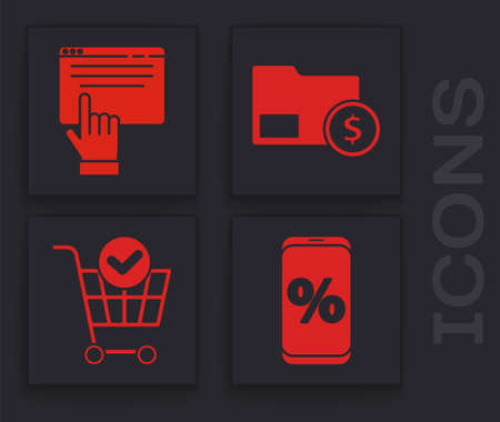 Set Percent discount and mobile, Online shopping on screen, Envelope with coin dollar and Shopping cart with check mark icon. Vector Vector Illustratie