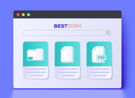 Set Document, Document folder and PSD file document icon. Vector