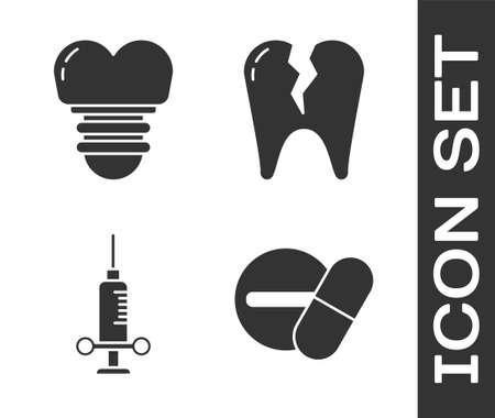Set Medicine pill or tablet, Dental implant, Dental medical syringe and Broken tooth icon. Vector