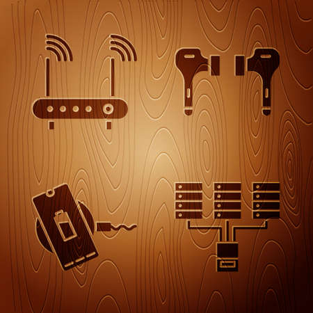 Set Server, Data, Web Hosting, Router and wifi signal, Wireless charger and Air headphones on wooden background. Vector