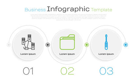 Set line Computer network, Document folder and Screwdriver. Business infographic template. Vector