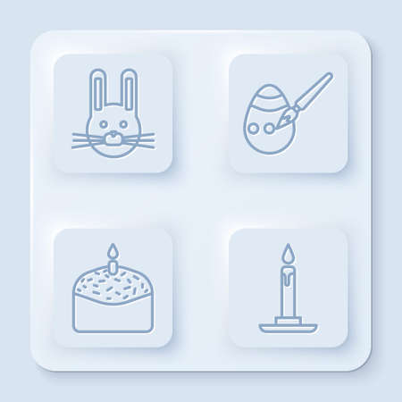 Set line Easter rabbit, Easter egg and paint brush, Easter cake and candle and Burning candle in candlestick. White square button. Vector