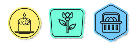 Set line Easter cake and candle, Flower tulip and Basket with easter eggs. Colored shapes. Vector Çizim