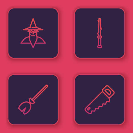 Set line Wizard warlock, Witches broom, Magic wand and Hand saw. Blue square button. Vector