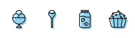 Set line Strawberry jam jar, Ice cream in bowl, Lollipop and Cupcake icon. Vector