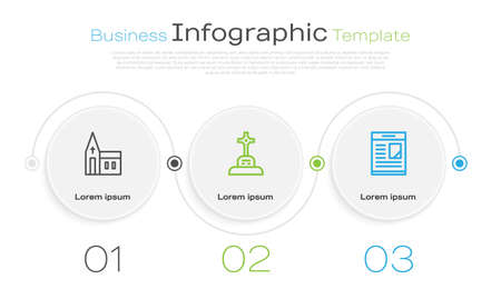 Set line Church building, Grave with cross and Obituaries. Business infographic template. Vector Çizim