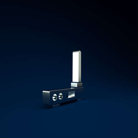 Silver Router and wifi signal symbol icon isolated on blue background. Wireless internet modem router. Computer technology internet. Minimalism concept. 3d illustration 3D render