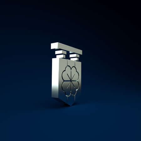 Silver Street signboard with four leaf clover icon isolated on blue background. Suitable for advertisements bar, cafe, pub. Minimalism concept. 3d illustration 3D render Stockfoto