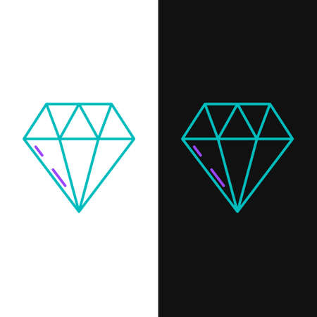 Line Diamond icon isolated on white and black background. Jewelry symbol. Gem stone. Colorful outline concept. Vector