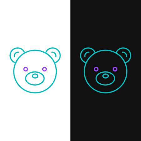 Line Teddy bear plush toy icon isolated on white and black background. Colorful outline concept. Vector