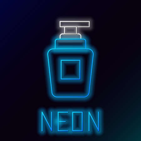 Glowing neon line Bottle of shampoo icon isolated on black background. Colorful outline concept. Vector