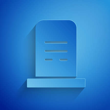 Paper cut Grave with tombstone icon isolated on blue background. Paper art style. Vector