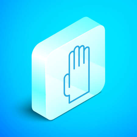 Isometric line Rubber gloves icon isolated on blue background. Latex hand protection sign. Housework cleaning equipment symbol. Silver square button. Vector Illustration