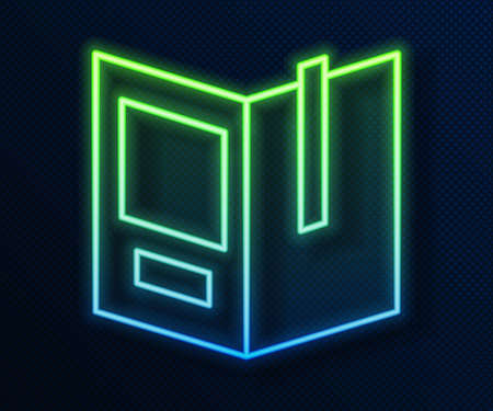 Glowing neon line Open book icon isolated on blue background. Vector Illustration