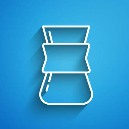 White line Coffee turk icon isolated on blue background. Long shadow. Vector