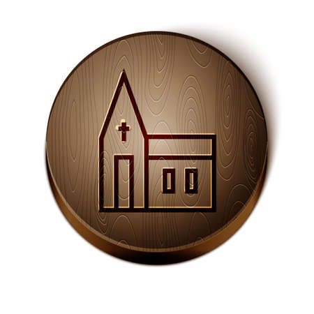Brown line Church building icon isolated on white background. Christian Church. Religion of church. Wooden circle button. Vector