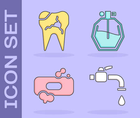 Set Water tap, Broken tooth, Bar of soap and Perfume icon. Vector