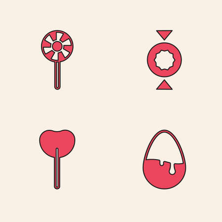 Set Chocolate egg, Lollipop, Candy and icon. Vector