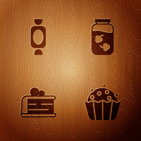 Set Cupcake, Candy, Piece of and Strawberry jam jar on wooden background. Vector