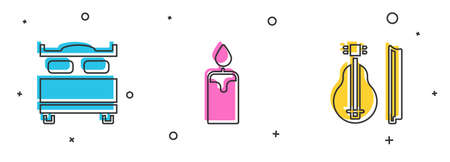 Set Bedroom, Burning candle and Violin icon. Vector