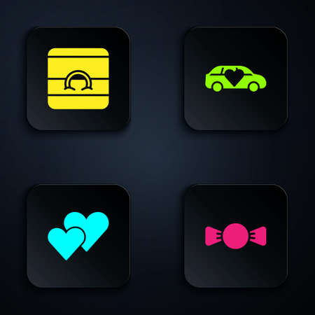 Set Bow tie, Wedding rings, Heart and Limousine car. Black square button. Vector