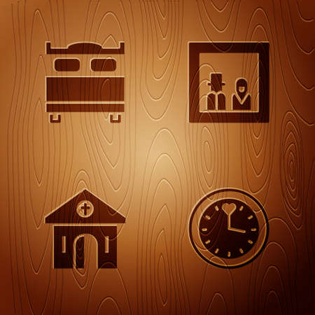 Set Clock, Bedroom, Church building and Family photo on wooden background. Vector
