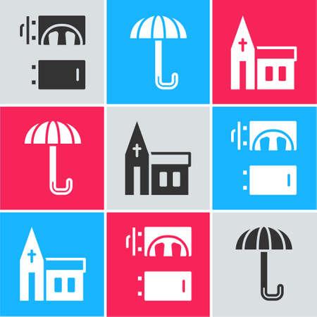 Set Crematorium, Umbrella and Church building icon. Vector