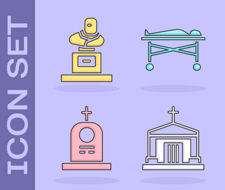 Set Old crypt, Grave with tombstone, Grave with tombstone and Dead body in the morgue icon. Vector