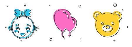 Set Happy little girl head, Balloons with ribbon and Teddy bear plush toy icon. Vector