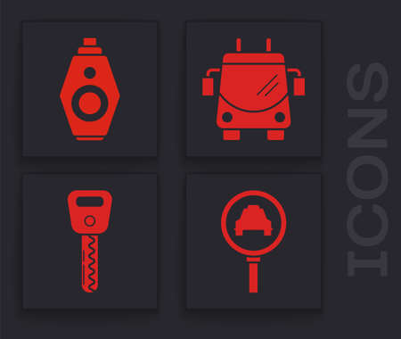 Set Magnifying glass and taxi car, Car key with remote, Trolleybus and Car key icon. Vector