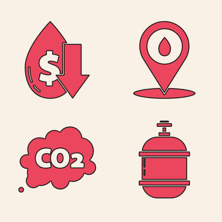 Set Propane gas tank, Drop in crude oil price, Refill petrol fuel location and CO2 emissions in cloud icon. Vector