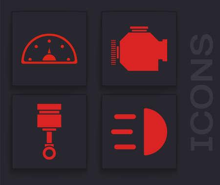 Set High beam, Speedometer, Check engine and Engine piston icon. Vector