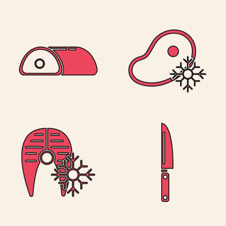Set Knife, Meat, Fresh frozen steak meat and Fresh frozen fish steak icon. Vector