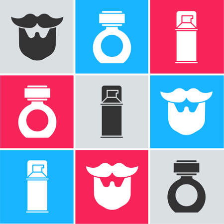 Set Mustache and beard, Aftershave and Shaving gel foam icon. Vector Иллюстрация
