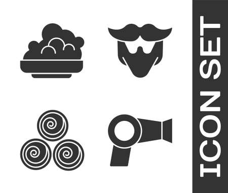 Set Hair dryer, Shaving gel foam, Towel rolls and Mustache and beard icon. Vector