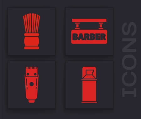 Set Shaving gel foam, Shaving brush, Barbershop and Electrical hair clipper or shaver icon. Vector Иллюстрация