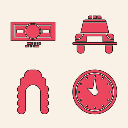 Set Clock, Stacks paper money cash, Police car and flasher and Judge wig icon. Vector Illustration