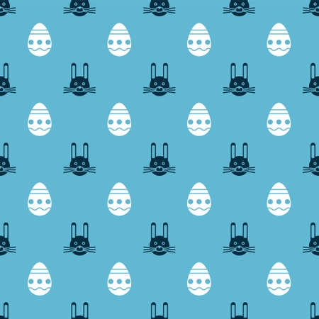 Set Easter rabbit and Easter egg on seamless pattern. Vector