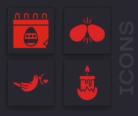 Set Burning candle, Calendar with Easter egg, Easter eggs and Peace dove with olive branch icon. Vector Çizim